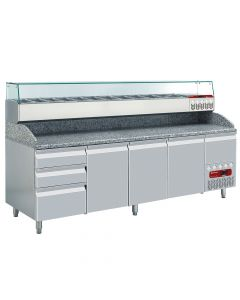 Diamond, 4-deurs pizzacounter, opzet GN 1/4, Pizza Line PLUS